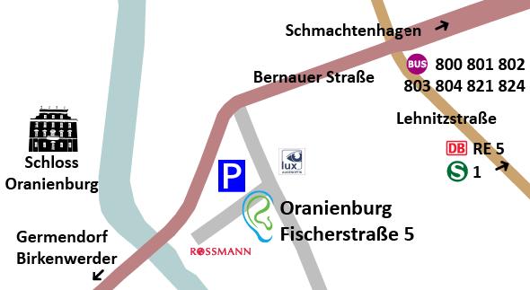 Die Akustikerin in Oranienburg: Hörgeräte am Fischerplatz zwischen Rossmann und Lux-Optik.